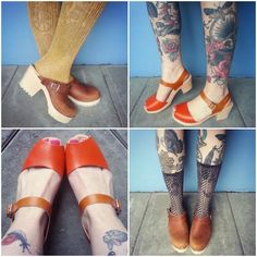 some of our new clogs, tractor sole and high wood open :)