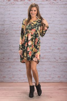 """""""Soft And Sweet Dress, Black"""" The name does not lie! This dress is both soft and sweet! The flowers are wonderfully delicate and detailed!  #newarrivals #shopthemint"""