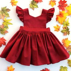 Winter / Fall Fashion Cora Pinafore Dress in Garnet Linen for baby toddler little girl long elbow sleeve cotton handmade button back warm cozy fall winter thanksgiving vintage inspired boutique made in usa small shop Fashion Kids, Baby Girl Fashion, Toddler Fashion, Fall Fashion, Toddler Dress, Toddler Outfits, Baby Dress, Girl Outfits, Summer Outfits