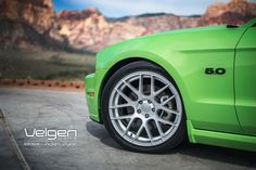 framing close up photography of mustang wheel | Green Convertible Ford Mustang 5.0 Gallery