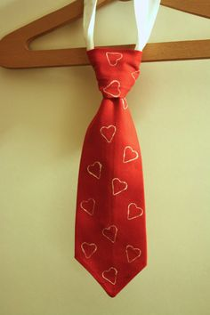 Valentines Day Wedding Tie for Boy Ring Bearer Red and White Hearts