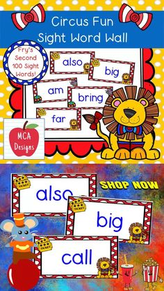 Sep 20, 2020 - My Circus Fun Sight Word Wall Posters feature Fry's Second 100 Words. 39 pages of sight words accented with bright colors and circus graphics! #teacherspayteachers #tpt #sightwords #wordwall