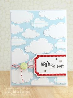 Really like the note paper stamped clouds. Blue and red is such a nice colour combo. - from Lime Doodle.