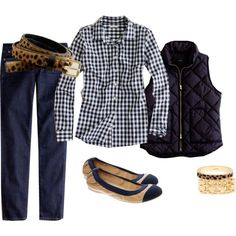 A fashion look from September 2012 featuring J.Crew blouses, J.Crew vests y J.Crew jeans. Browse and shop related looks.