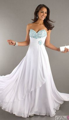 c683d87db7c Lovely A Line Sweetheart Chiffon and Beading White Prom Dress