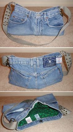 Old jean shorts and belt made into a handbag i had some st patty s day fabric to use for the lining and kept the tags from inside the jeans outside the lining it s nice and big and has 4 ready made pockets on the outside but i think the next one will need Diy Purse From Jeans, Denim Purse, Jean Crafts, Denim Crafts, Jean Purses, Denim Handbags, Denim Ideas, Recycled Denim, Diy Clothes