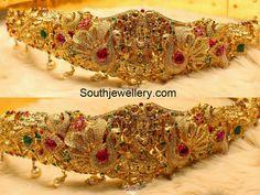 peacock temple vaddanam Indian Jewellery Design, Latest Jewellery, Indian Jewelry, Jewelry Design, Diamond Jhumkas, Vaddanam Designs, Gold Jewelry, Jewelery, Necklace Set
