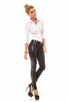 Pantaloni Action Negri- www. Leather Pants, Action, Collection, Leather Jogger Pants, Group Action, Leather Joggers