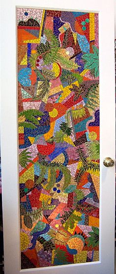 beautiful mosaic work  Love that's it's applied on an ordinary door...how extra-ordinary!!!