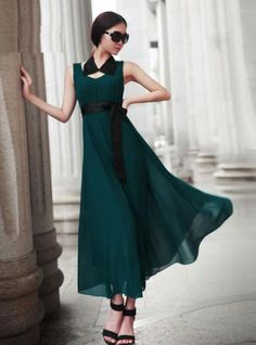 Green Mopping Chiffon Dress