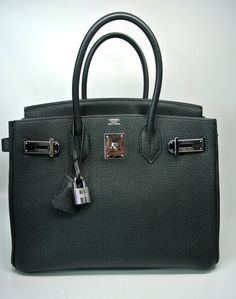 100832425f1 Authentic HERMES 30 CM Black Birkin with Palladium Hardware - available at  http