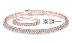 Groupon Goods Global GmbH: 3-teiliges Schmuck-Set: Halskette, Armband und Ohrstecker mit zahlreichen Swarovski®-Kristallen in Roségold oder Silber