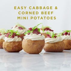 Entertain guests the best way possible this St. Patrick's Day by introducing them to something new, tasty and easy to make – cabbage and corn mini beef potatoes! And don't forget the Boursain®. Visit boursin.com and check out the cheeses.
