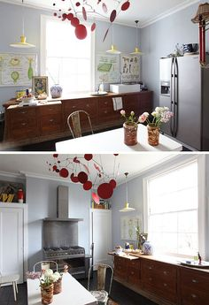 I love the idea of using a large piece of furniture in the kitchen instead of traditional kitchen cabinets.