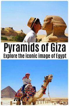 Explore the pyramids of Giza, Egypt