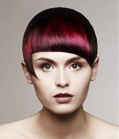 short red straight coloured multi-tonal defined-fringe asymmetrical hairstyles for women  #ukhairdressers  #inspireme