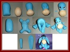 This tutorial can be used to make an Eeyore figurine or charm out of polymer clay! Fondant Animals, Clay Animals, Fondant Figures, Cake Decorating Techniques, Cake Decorating Tutorials, Fondant Toppers, Fondant Cakes, Cake Fondant, Cupcake Toppers