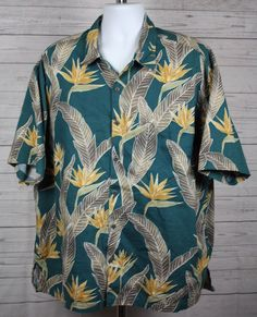 Pau Hana Hawaii Mens Aloha Hawaiian Green Cotton Blend Shirt Palm Leaves 3XL #PauHana #Hawaiian