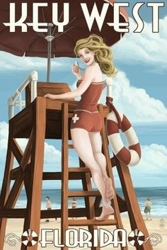 Key West, Florida - Lifeguard Pinup Girl - Lantern Press Artwork