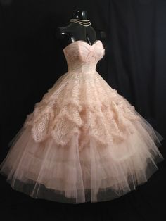 Love the tulle, lace, and rhinestones on this dress! 1950's prom dress