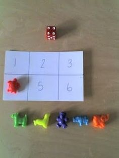 """The number recognition game Simple yet effective! :} //have """"chips"""" match Montessori colors. Easy to make."""