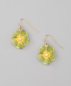 Take a look at this Green & Gold Enamel Flower Earrings by ICON on #zulily today!