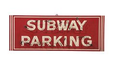 #Subway Parking  96x36x12 presented as lot S30. #Mecum #WalkerSignCollection #Neon #Porcelain