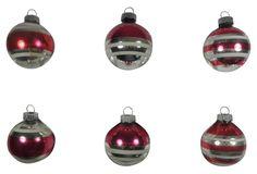 Red & White Stripe Ornaments, S/6