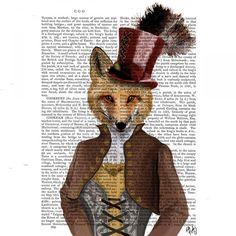 Vivienne Steampunk Fox, Dictionary Print