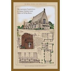 Buyenlarge The McQuade and Barton Church Graphic Art Vintage House Plans, Modern House Plans, House Floor Plans, Temple Architecture, Architecture Plan, Victorian Architecture, Building Plans, Building Design, Church Building