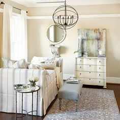 One Room, Two Uses: How To Have a Home Office in a Guest Room - Home Decorating Stores Daybed Mattress, Upholstered Daybed, Daybed With Trundle, Guest Room Office, Home Office, Chandeliers, Ballard Designs, Inspired Homes, Home Furnishings