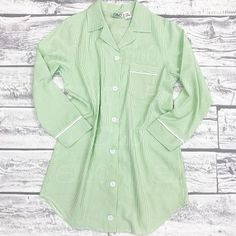 Seersucker Lounge Shirt - Green
