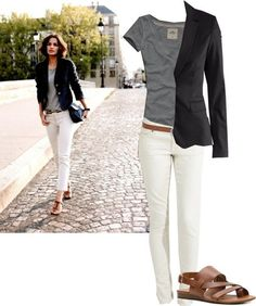 tee + blazer + white jeans by diane.smith
