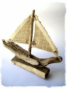Linen Sails Driftwood Sailboats by purestylecrafts on Etsy, £15.00