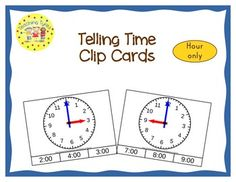 These cards are terrific for Math Centers – A Hands-On Activity your kiddos will love!  5 pages; 12 Telling Time clip cards to help your students practice their on the hour time-telling skills.  Clock hands are different colors and the hour hand is a bit chunkier than the minute hand to help distinguish between the two.