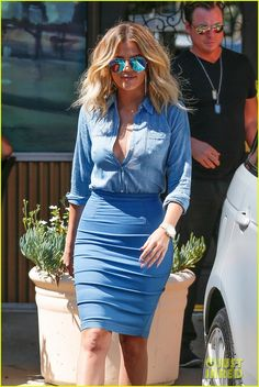 Khloe Kardashian Got a Shower Scare from Kendall & Kylie Jenner!: Photo #3708406. Khloe Kardashian wears an all-blue ensemble as she heads to Grissini Ristorante Italiano on Friday (July 15) in Los Angeles.    The 32-year-old reality star was…