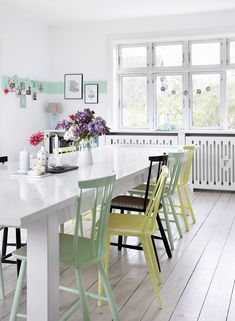 Light green chairs + wall stripe