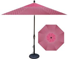 Hot pink polka dot umbrella for the patio?? Yes please!