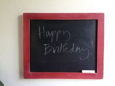 simple upcycled wood frame chalkboard - cherry or red wood finish - perfect for kitchen or pantry