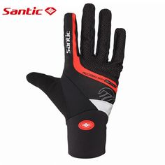 Santic Winter Men Cycling Gloves MTB Male Road Gel Gloves Cycling Bike Bicycle Full Finger Fitness Cycling Thremal Gloves C09046