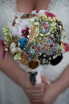 My brooch bouquet that I made for my wedding. So much history and stories behind each brooch. Thanks to my family, friends, and patients! Broschen Bouquets, Wedding Brooch Bouquets, Flower Bouquet Wedding, Broach Bouquet, Hotel Wedding Venues, Unique Wedding Venues, Unique Weddings, Wedding Ideas, Wedding Memorial