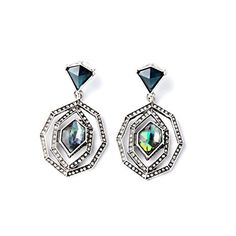 Lares Domi Vintage Silvertone Crystal Incrusted Simulated Opal Classic Art Deco Style Dangle Earrings * Click on the image for additional details.