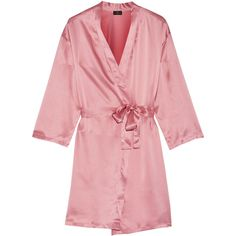 Cosabella - Silk-satin Robe ($120) ❤ liked on Polyvore featuring intimates, robes, robe, lingerie, pajamas, baby pink, cosabella robe, cosabella lingerie, dressing gown and silk satin robe
