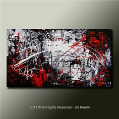 Original ABSTRACT Modern PAINTING Textured Contemporary Fine Art by Idil Kamlik black white red palette knife texture