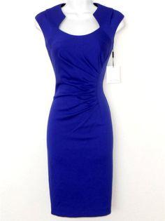 Calvin Klein Dress Size 10 Purple Ruched Stretch Sheath Cocktail Career NWT #CalvinKlein #Sheath #Cocktail