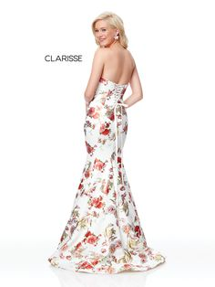 0debd5c7a9d 3801 - Ivory and floral print strapless mermaid prom dress with a corset  back White Pageant