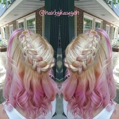 hairbykaseyohJess and her pastel pink with a butterfly braid  color by me braid by Jesse Silva #behindthechair