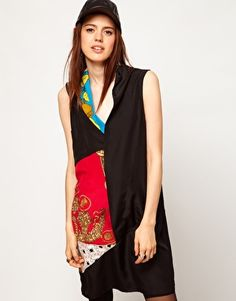 ASOS REMIX Silk Scarf Print Dress