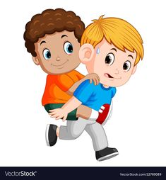 Smiling boy carrying his best friend on his back vector image Cartoon People, Cartoon Pics, Cartoon Picture, Prom Pictures, Winter Pictures, Framed Tattoo, Friends Picture Frame, Crazy Eyes, Cool Cartoons