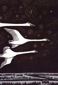 Swan Sky by Keizaburo Tejima, Woodcut